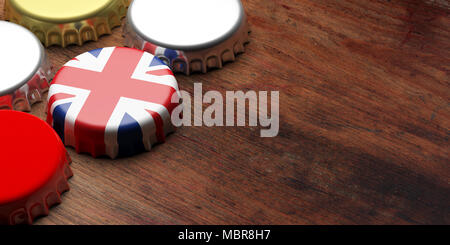 British beers. Beer cap with UK flag on wooden background, copy space. 3d illustration - Stock Photo