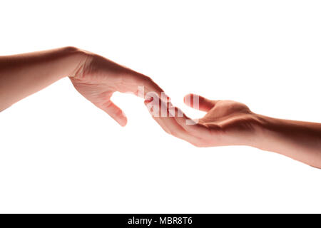 Touching hands - warm mood - Stock Photo