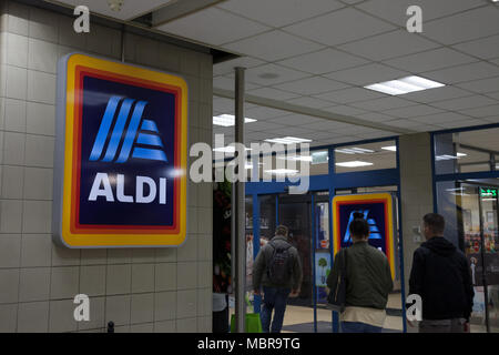 BUDAPEST, HUNGARY - APRIL 7, 2018: Aldi logo on one of their shops for Hungary. Aldi is a German Discount Supermarket chain developped worldwide  Pict - Stock Photo