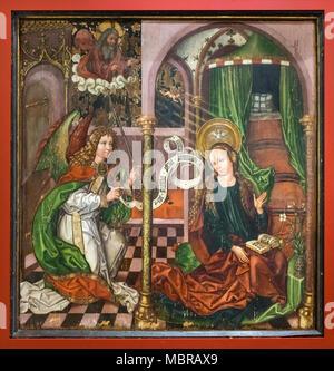 Painting Annunciation, c. 1480, Museum Unterlinden, Musée Unterlinden, Colmar, Alsace, France - Stock Photo