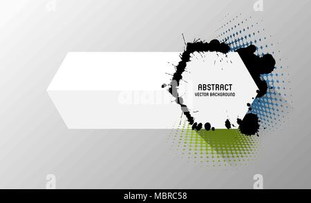 abstract vector banner with splatters and halftone effect - Stock Photo
