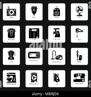 Domestic appliances icons set, simple style - Stock Photo