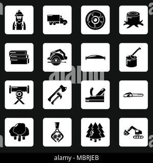 Forestry And Sawmill Icon Set Stock Vector Art