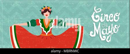 Cinco de mayo celebration web banner. Girl dressed in traditional mexican dress with hair flowers and typography quote. EPS10 vector. - Stock Photo