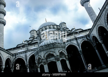Courtyard an minarets of the Sultan Ahmed or Blues Mosque in Istanbul, Turkey - Stock Photo