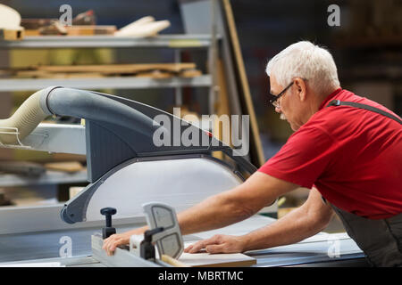 carpenter with panel saw and fibreboard at factory - Stock Photo