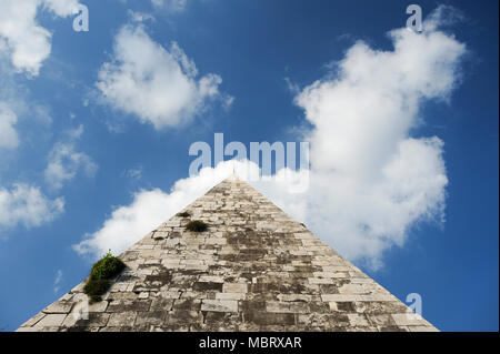 Piramide di Caio Cestio or Piramide Cestia (Pyramid of Cestius) in Historic Centre of Rome listed World Heritage by UNESCO in Rome, Italy. April 29th  - Stock Photo