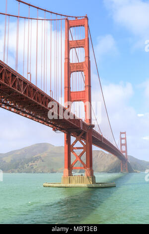View of the Golden Gate Bridge from Fort Point. - Stock Photo