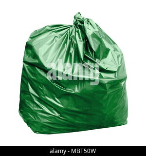 green garbage bag with concept the color of green garbage bags is biodegradable compostable waste (isolated on white background) - Stock Photo