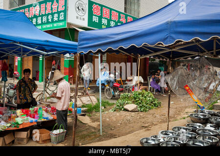 Fuli Village, Yangshuo, Guangxi, China - August 2, 2012: View of a street market at the Fuli Village in the countryside of southern China, Asia. - Stock Photo