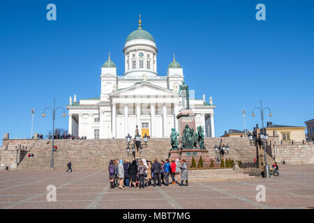 Helsinki Cathedral on a sunny day in April. The cathedral was completed in 1852 and seats 1300 people. - Stock Photo