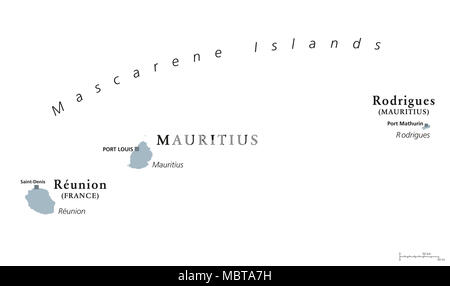 Mauritius Political Map with capital Port Louis the islands Stock