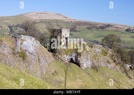 Ruins of Peveril Castle, Castleton, Peak District National Park, Derbyshire, England, United Kingdom, Europe - Stock Photo