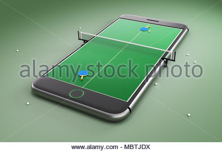 Mobile phone screen ping pong game concept. Minimal tennis table background design - Stock Photo