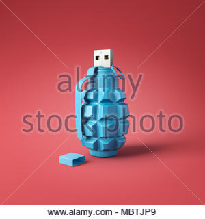 Flash drive usb pen safe data design on red square background. Data protection minimal concept - Stock Photo