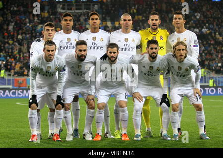 LVIV, UKRAINE - NOVEMBER, 25: FC Real Madrid football players celebrate a goal scored during the UEFA Champions League match between Shakhtar vs Real - Stock Photo