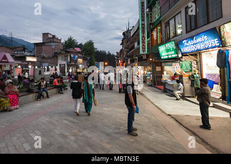 MANALI, INDIA - SEPTEMBER 21: Mall Street is a main street in Manali on September 21, 2013, Manali, India. Manali is a very popular hill station in In - Stock Photo