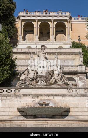 The Fountain of Rome, Piazza del Popolo, Rome, Italy. Beneath the Pincio Gardens is the Fontana della dea di Roma (Fountain of the goddess of Rome) - Stock Photo