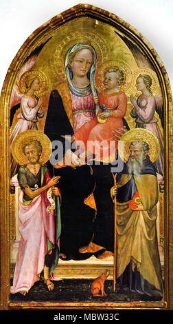 Madonna col Bambino tra Angeli  - Madonna and Child among Angels -San Giovanni Battista e Sant'Antonio Abate - St. John the Baptist and St. Anthony the Abbot by Rossello di Jacopo Franchi 15th Century Italy Italian - Stock Photo