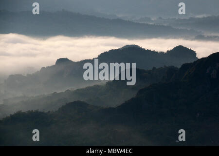 The famous Low Level Cloud at Toraja Utara, seen from To'Tombi, Sulawesi, Indonesia - Stock Photo