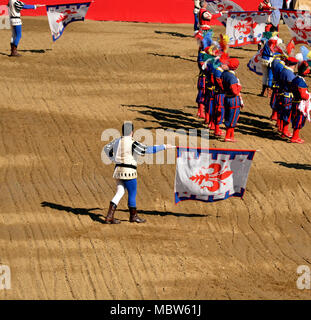 Flag wavers during a performance of historic football in Florence - Stock Photo