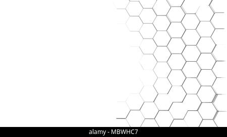Futuristic background with hexagonal white abstract shape. 3d illustration - Stock Photo
