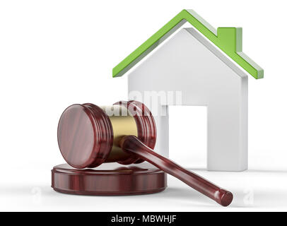 Judge gavel and eco house with green roof in background. Law and ecology concept - Stock Photo