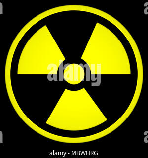 Radioactive Sign Symbol isolated on black background. 3D rendering - Stock Photo