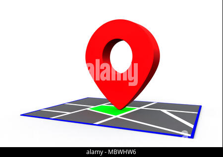 Red Map Point pin sign on the map. 3D Rendering - Stock Photo