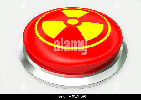 Red nuclear alert button and sign for danger isolated on white background. 3D illustration - Stock Photo
