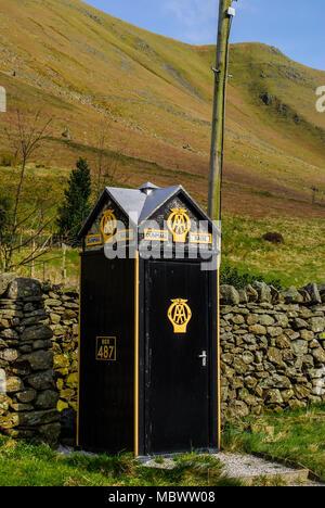 Vintage Automobile Association emergency phone box on Dunmail Raise. AA box 487, Barrow in Furness, Lake District National Park, Cumbria, UK - Stock Photo