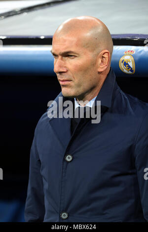 Madrid, Madrid, Spain. 11th Apr, 2018. Zinedine Zidane before the UEFA Champions league round of quarter final match second leg football match between Real Madrid and Juventus Turin at Santiago Bernabeu stadium. Credit: Manu Reino/SOPA Images/ZUMA Wire/Alamy Live News - Stock Photo