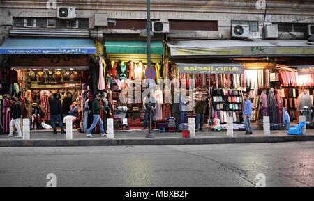10 April 2018, Jordan, Amman: Shops sell their goods in the old town of Amman. Photo: Britta Pedersen/dpa-Zentralbild/ZB - Stock Photo
