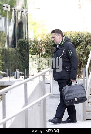 Madrid, Spain. 12th Apr, 2018. Jordi Busquets (R, lawyer of Tamara Carrasco (unseen), Coordinator of Catalonian movement Committees for Defense of Republic, arrives at Audiencia Nacional Court in Madrid, Spain, 12 April 2018 before Carrasco testifies as suspect before Spanish judge Diego de Egea (unseen). Carrasco was arrested last 10 April in Barcelona as part a judicial investigation for rebellion and terrorism for allegedly leading 'acts of sabotage' and creating a 'climate of social agitation', according to public prosecutor office' sources. Credit: Javier Lizon/EFE/Alamy Live News - Stock Photo