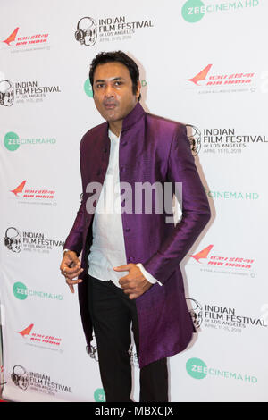 Los Angeles, USA. 11th April, 2018. Samrat Chakrabarti, Composer/Actor (Fifteen Years Later), at Opening Night Red Carpet for the Los Angeles premiere of IN THE SHADOWS at the Indian Film Festival of Los Angeles in Regal LA LIVE: A Barco Innovation Center. Credit: Vladimir Yazev/Alamy Live News. - Stock Photo