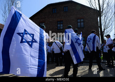 Oswiecim, Poland. 12th Apr, 2018. Participants carry Israeli flags at the former Nazi German Auschwitz-Birkenau death camp during the 'March of the Living' at Oswiecim. The annual march honours Holocaust victims at the former Nazi German Auschwitz-Birkenau death camp in southern Poland. Credit: Omar Marques/SOPA Images/ZUMA Wire/Alamy Live News - Stock Photo