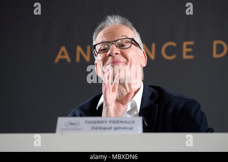 Paris. 12th Apr, 2018. Cannes Film Festival's general delegate Thierry Fremaux attends a news conference in Paris, France on April 12, 2018. The Committee of Cannes Film Festival held a news conference on Thursday to announce this year's official selection. Credit: Chen Yichen/Xinhua/Alamy Live News - Stock Photo