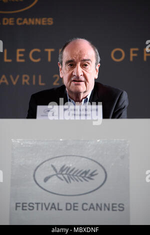 Paris. 12th Apr, 2018. Cannes Film Festival's president Pierre Lescure attends a news conference in Paris, France on April 12, 2018. The Committee of Cannes Film Festival held a news conference on Thursday to announce this year's official selection. Credit: Chen Yichen/Xinhua/Alamy Live News - Stock Photo