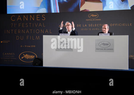 Paris. 12th Apr, 2018. Cannes Film Festival's president Pierre Lescure (R) and general delegate Thierry Fremaux attend a news conference in Paris, France on April 12, 2018. The Committee of Cannes Film Festival held a news conference on Thursday to announce this year's official selection. Credit: Chen Yichen/Xinhua/Alamy Live News - Stock Photo