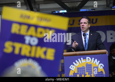 New York, USA. 11th Apr, 2018. Govenor Andrew Cuomo speaks at 32BJ SEIU's Residential Contract Rally on April 11, 2018 in New York. Credit: Erik Pendzich/Alamy Live News - Stock Photo