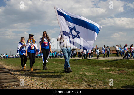 Oswiecim, Poland. 12th Apr 2018. March of the Living. An international event in which Jews from various countries, mainly students and students, visit the Holocaust sites that the Germans created during the war in the occupied Polish territories. Thanks to the participation in the March, young people will also learn about the history of Polish Jews, they also meet with Polish peers and Polish Righteous Among the Nations. Credit: Slawomir Kowalewski/Alamy Live News - Stock Photo