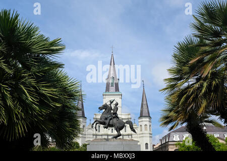 Statue of Andrew Jackson in Jackson Square Park with Saint Louis Cathedral in the background in New Orleans, Louisiana - Stock Photo