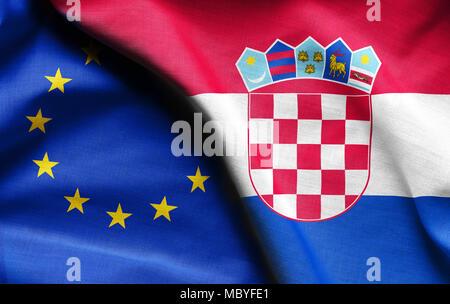 Flags of Croatian and european union - Stock Photo
