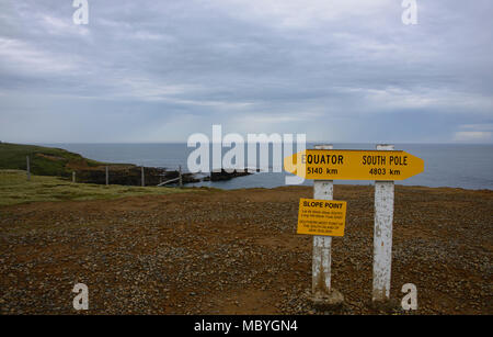 Slope Point, the South Island's most southern destination, Catlins, New Zealand - Stock Photo