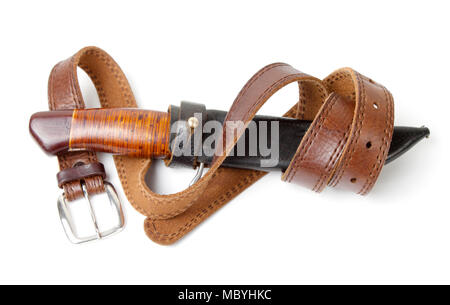 Hunting knife with strap  on a  white background - Stock Photo