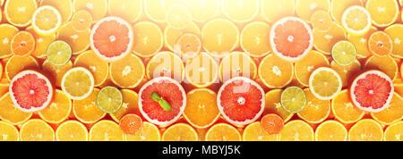 Citrus fruits background (orange, lemon, grapefruit, mandarin, lime). Food frame, vitamin concept, copy space, banner - Stock Photo