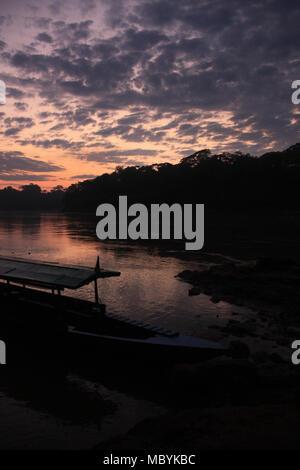 Sunrise in the Amazon Rainforest, Tambopata National Reserve, Puerto Maldonado, Peru - Stock Photo