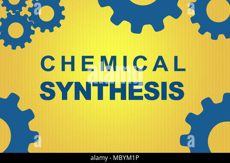 CHEMICAL SYNTHESIS sign concept illustration with blue gear wheel figures on dark yellow background - Stock Photo