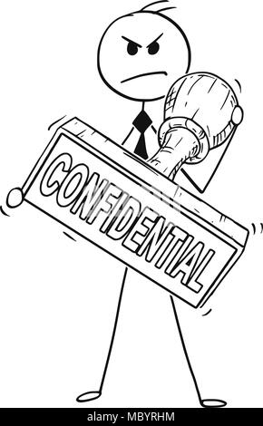 Cartoon of Businessman Holding Big Hand Rubber Confidential Stamp - Stock Photo