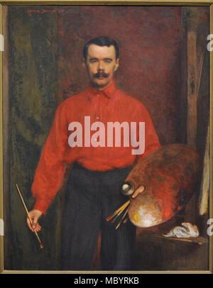 Ludomir Janowski (1862-1939). Polish painter. Self-portrait, 1907. National Gallery of Art. Vilnius, Lithuania. - Stock Photo